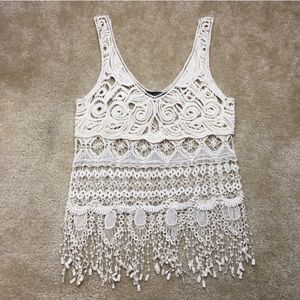 Dulcie Ivory Crochet Fringe Top Size Small
